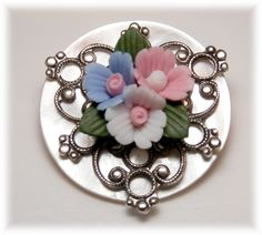 Porcelain Roses on MOP with Silver Filigree Button by Fairy Tale Buttons, CE '14. Sold