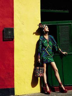 """Carmen Miranda Reloaded"" | Model: Mirte Maas, Photographer: Giampaolo Sgura, Vogue Brazil, February 2013"