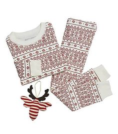 Fair Isle Pajama   Ornament Set - Burts Bees Baby Baby Christmas Pajamas 10cb2bbd3