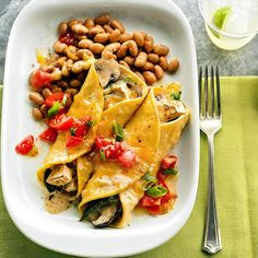 For a meatless meal that will delight vegetarians and meat-eaters alike, fill corn tortillas with cremini mushrooms, cheese, and sour cream. Cumin adds a satisfying kick./