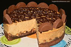 Hellooooo, birthday cake. --- Reese's Peanut Butter Cup Cheesecake On A Brownie Crust - Hugs and Cookies XOXO