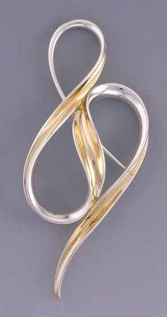 meandering pin: nancy linkin: silver & gold brooch - artful home
