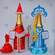"""Новый год 2015 ручной работы. Ярмарка Мастеров - ручная работа. Купить Новогоднее шампанское """"Дед Мороз и Снегурочка"""". Handmade."""