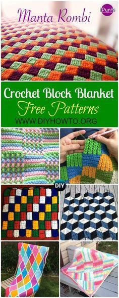 Collection of Crochet Block Blanket Free Patterns: Crochet Puff Braid Blanket, Harlequin Blanket, 3D Diamond Blanket, Textured Block Afghan, Mandala Geometric Blanket via @diyhowto