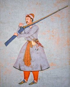 Credit: Officer of the Mughal Army, (colour litho), Indian School, century) / Private Collection / Peter Newark Military Pictures / The Bridgeman Art Library PNP 314579 Image number: Officer of the Mughal Army, (colour litho) Harappan, History Of India, Mughal Empire, Military Pictures, Indian Army, Ottoman Empire, Central Asia, Archery, Clothes