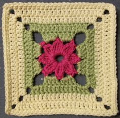 Today's square: Begonia Size: 7 inch Pattern By: Jan Eaton Hook: H Yarn: RHSS hot pink, eggnog; Pattern from: Ravelry Notes: Another cute square from the 200 Croche… Crochet Square Blanket, Crochet Motifs, Crochet Blocks, Granny Square Crochet Pattern, Afghan Crochet Patterns, Crochet Squares, Crochet Stitches, Knit Crochet, Knitting Patterns