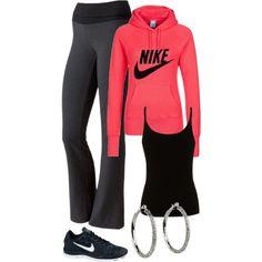 """sporty"" pink nike sweatshirt, black tennis shoes and tank top and yoga pants"