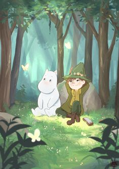 Moomin and Snufkin 💕 Moomin Wallpaper, Pattern Wallpaper, Les Moomins, Moomin Valley, Different Kinds Of Art, Tove Jansson, Cute Notebooks, Guache, Watercolor Animals