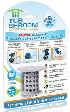TubShroom® (Gray) The Hair Catcher That Prevents Clogged Drains