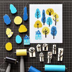 Trees Block Print Pattern by Andrea Lauren