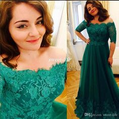Elegant Plus Size Long Prom Dresses Emerald Green Lace Off Shoulder Half Sleeves Full Length Chiffon 2016 Arabic Formal Wear Evening Gowns Online with $97.35/Piece on Sweet-life's Store | DHgate.com