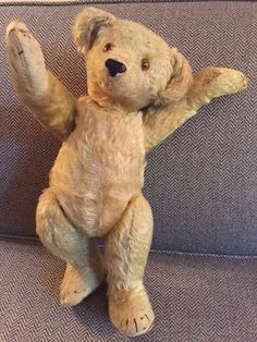 VINTAGE ANTIQUE STEIFF TEDDY BEAR 15 in.GOLDEN MOHAIR CIRCA 1904 GREAT CONDITION #Steiff #Christmas