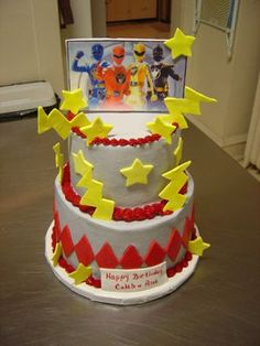 power rangers - If I had to do this cake over, I would not ice it in grey, fondant accents.