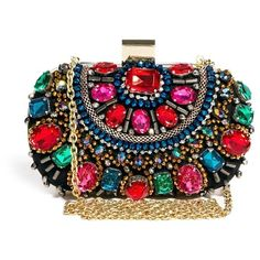 ALDO Enroelid Multicolour Gem Box Clutch Bag ($85) ❤ liked on Polyvore featuring bags, handbags, clutches, multi, multi color purse, box clutch, aldo, aldo purses and colorful handbags