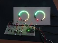A stereo VU meter built with an Arduino Nano and two NeoPixel LED rings. By ericBcreator.