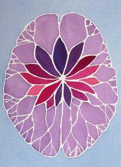 physilology:  Lavender Lotus Brain - original watercolor...