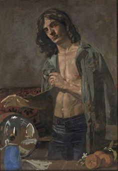 """Alain as """"Winter"""" France, 1975 Oil on kraft paper, 115 x 81 cm Inv. by Yiannis Tsarouchis Queer Art, Art Of Man, Art Database, Caravaggio, Gay Art, Portraits, New Artists, Michelangelo, Modigliani"""