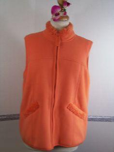 Coldwater Creek Vest Large Fall Orange Plush fleece lining NWT #ColdwaterCreek