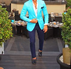 Linen turquoise Jacket by Absolute Bespoke www.absolutebespoke.com
