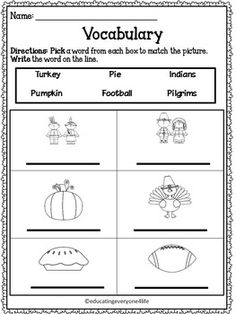 FREE Thanksgiving Vocabulary Worksheet - Click on this pin to download this Thanksgiving FREEBIE ! #Tpt #thanksgiving #free