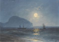 Ivan Konstantinovich Aivazovsky (1817 - 1900) :  Moonlight.   Russian Romantic painter. He is considered one of the greatest marine artists in history