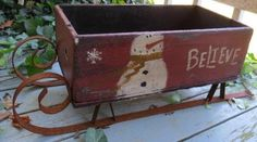 Antique Wooden Crate Box Primitive Rusty Sleigh Sled Christmas Snowman Display
