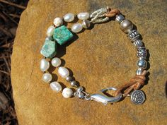 Big Sky - Leather and Pearl Bracelet. $32.00, via Etsy.