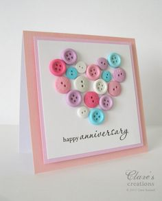 Clare's creations - Cheery button card published in the January issue of Cardmaking & Papercraft Magazine (UK).