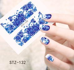 1pcs Hot Blooming Flowers Designs Water Transfer Stickers Nail Decals Watermark Decorations Beauty Full Wraps Foils STZ132