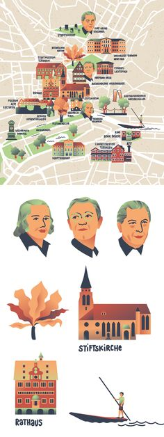 Illustrated city map of Tübingen, a city in southern germany. Illustrated map, vector map, vector portraits