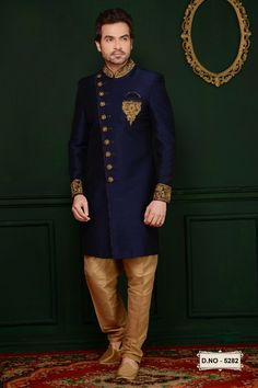 Sherwani - Huge collection of designer Sherwanis for men online. Buy the latest designer Sherwanis for wedding, engagement, and party with the best prices at Cbazaar. Blue Sherwani, Sherwani Groom, Mens Sherwani, Wedding Sherwani, Wedding Dresses Men Indian, Pakistani Dresses, Indian Groom Wear, Indian Suits, Indian Wear