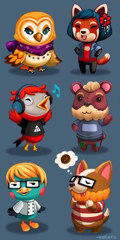 Various Yogscast members as Animal Crossing citizens