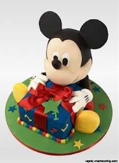 Mickey Mouse Cake = this is so cute - you could even use a toy for Mickey and just the gift as the cake, esp if its for a small child