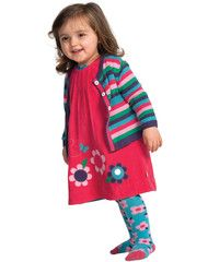 This perfect little traditional style dress is perfect for keeping your little ones warm this Autumn. It features a colourful appliqué flowers on the bottom, what else could you possibly need? It has a button fastening feature at the back. The snuggly cord material is perfect to pop on with a matching Frugi Cardigan or some Leggings to compete the outfit and keep your little one all snuggly.Frugi is brilliant as there are no nasty chemicals used on the fabric so it keeps the material pure…