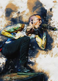 Smudge Chester Bennington poster by from collection. Chester Bennington, Charles Bennington, Linkin Park Wallpaper, Linkin Park Chester, Print Artist, New Artists, Cool Artwork, Art Projects, Poster Prints
