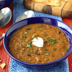 Lentil & Black Bean Soup with Smoked Paprika