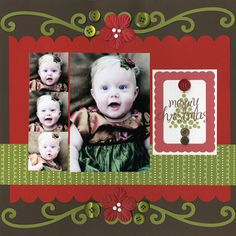 Christmas scrapbook layout with jewel things I have