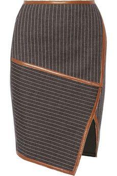 Jonathan Simkhai Leather-trimmed neoprene-bonded jersey skirt | NET-A-PORTER