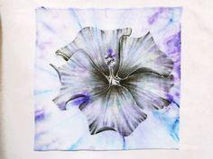 "Square pocket Cotton batiste handkerchief Hand-painted hibiscus Black flower Unique hankie Floral Goth Black lilac blue 24x24cm,9.5x9.5"" - pinned by pin4etsy.com"