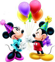 Стикери Мики Маус - Мики и Мини Маус с балони