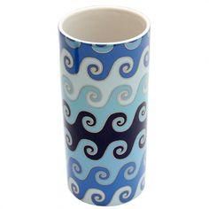 Peça do designer Jonathan Adler Jonathan Adler, Feng Shui, Mugs, Tableware, Decorative Vases, Water Element, Black, Waves, Blue