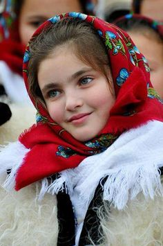 Girl in Romanian traditional costume