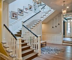 Elegant and Colorful Interior Design with the Beautiful Idea : Beautiful Stair Colorful Home Interiors Wooden Flooring Bright Lighting