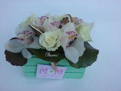 Wooden box flower arrangment with orchids and roses for #MothersDay!!!!!!!!!!!