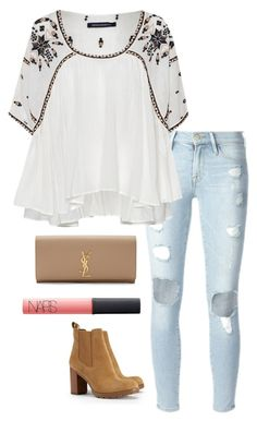 """ripped jeans"" by helenhudson1 ❤ liked on Polyvore featuring Frame Denim, French Connection, Tory Burch, NARS Cosmetics and Yves Saint Laurent"