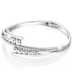 Menton Ezil Love Encounter White Gold Silver Bracelets Swarovski Element Crystal Bangle Adjustable Hinged Womens Jewellery zDur9AWJ3S