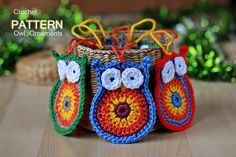 Crochet Owl Ornaments w/ note that those who serve the Lord are wise.