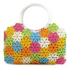 crochet from plastic bags Love Crochet, Crochet Flowers, Knit Crochet, Crochet Handbags, Crochet Purses, Crochet Bags, Handmade Clothes, Handmade Bags, Tatting Patterns