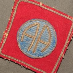 Patch WW1 US Army 82nd Infantry Div Bullion French Made as Removed
