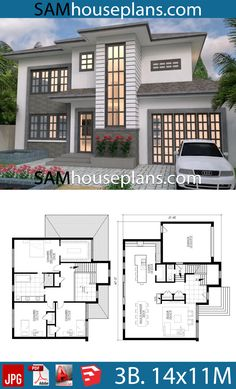House Plans with 3 Bedrooms - Sam House Plans Bedroom House Plans, Dream House Plans, Modern House Plans, My Dream Home, 3d Home Design, Home Design Plans, Modern House Design, Duplex, Garden Living